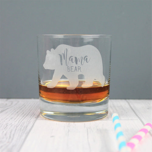 Engraved bear glass whisky tumbler with the words mama bear inside.