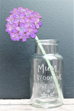 mothers day etched vase with wooden painted flower
