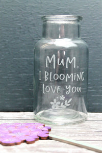Mum engraved vase with wooden etched flower