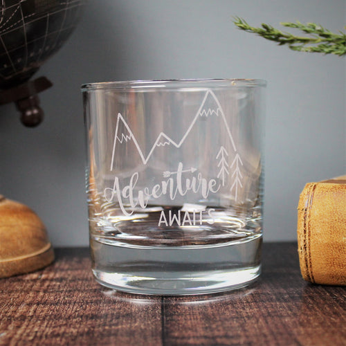 Whisky tumbler Glass - engraved with adventure awaits and a mountain design - ideal gift for travellers