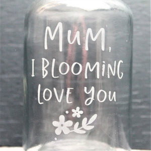 Engraved floral vase with mothers day quote