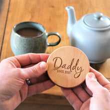 engraved coaster for him, round wooden coaster