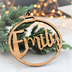 Custom name Christmas tree decoration made from wood. Can be personalised with your very own name
