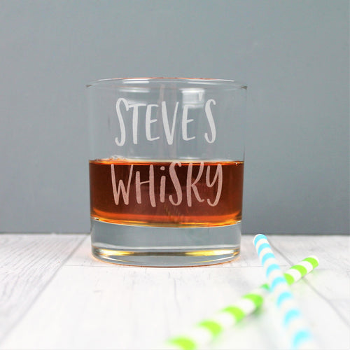 Personalised name whisky tumbler glass, engraved with a custom name of your choice