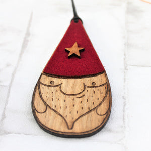 Red hat gnome christmas ornament made from ood and felt