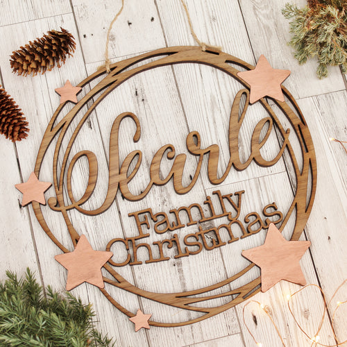 Wooden Personalised Star Christmas Wreath