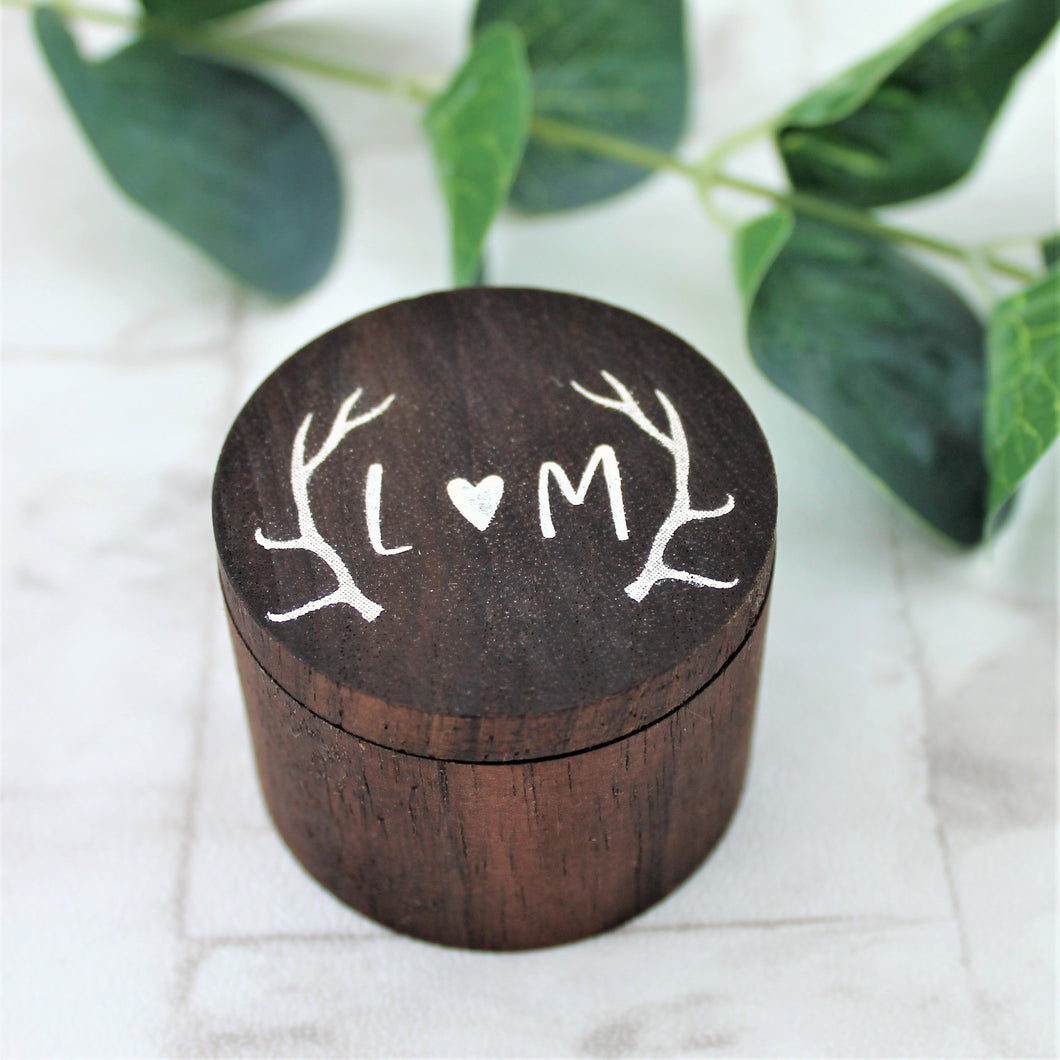 Rustic Antler Wooden Ring Box
