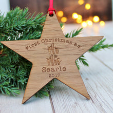 Mr & Mrs First Christmas Wooden Star Bauble