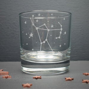 Glass tumbler engraved with the Orion constellation and star design