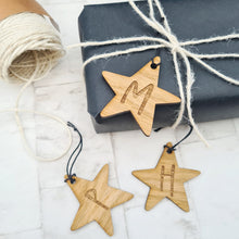 Star gift tag with personalised initials, Christmas gift wrapping idea