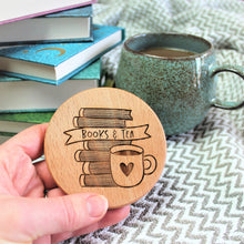 book lover coaster made from wood and engraved