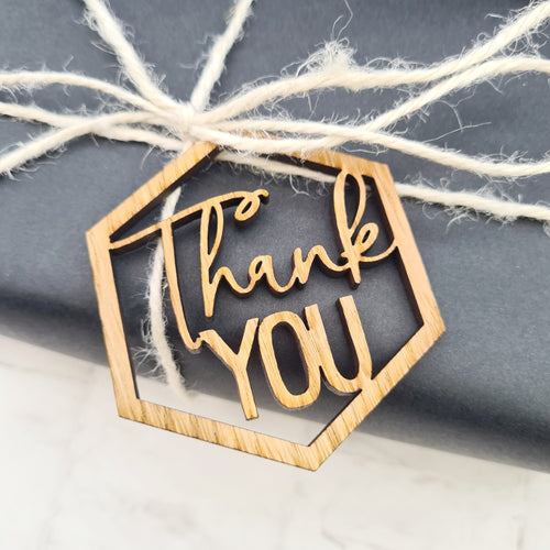 Thank you wooden cut out gift tag