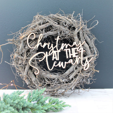 Personalised Rustic Christmas Wreath - Grey and White