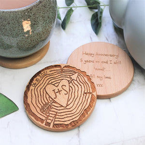 Log Slice Wooden Initial Couples Coaster