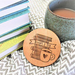 books and tea coaster wooden engraved