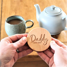 fathers day coaster, engraved wooden round coaster for him