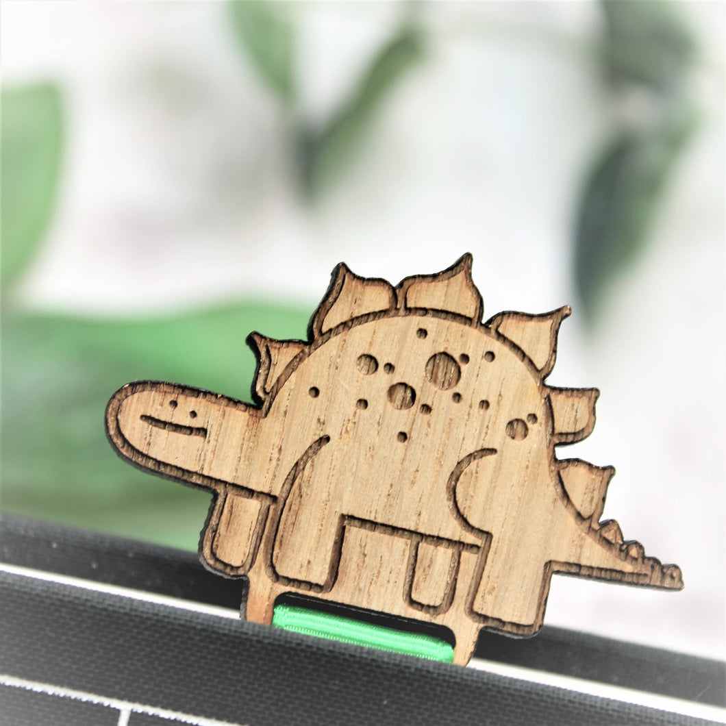cute dinosaur bookmark for bookworm with green ribbon