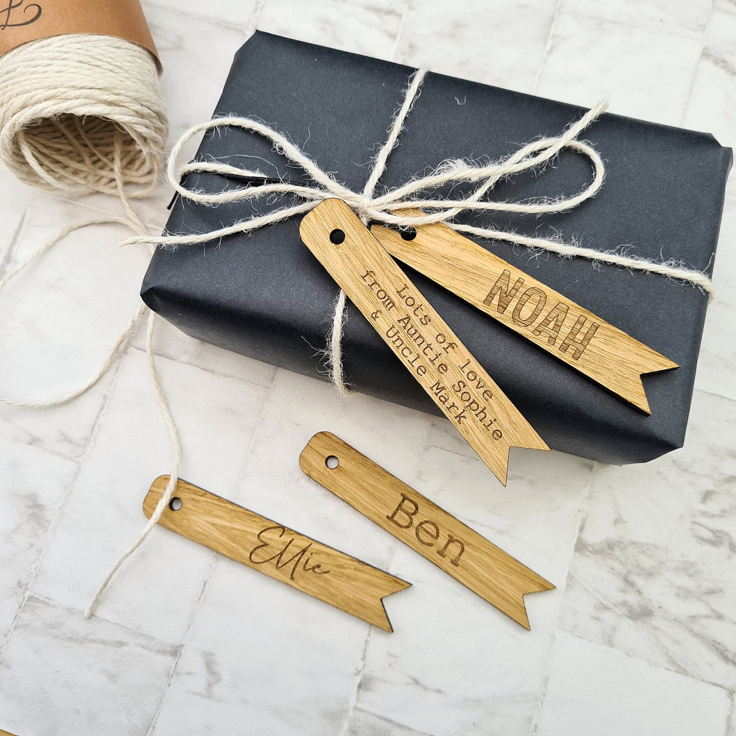 Wooden gift tags, personalised with custom names and some rustic Christmas gift wrapping