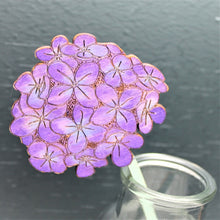 Purple and blue Hand painted wooden hydrangea flower