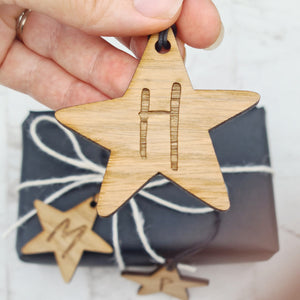 star shaped wooden gift tag with custom initials