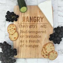 Wooden engraved chopping board with the definition of hangry etched into  it