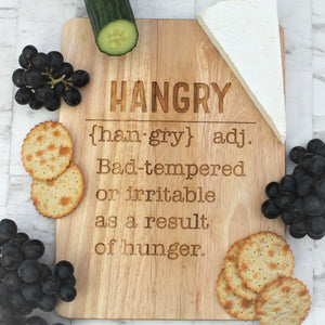Funny quote hangry serving board. Engraved wooden cheeseboard for the perfect party