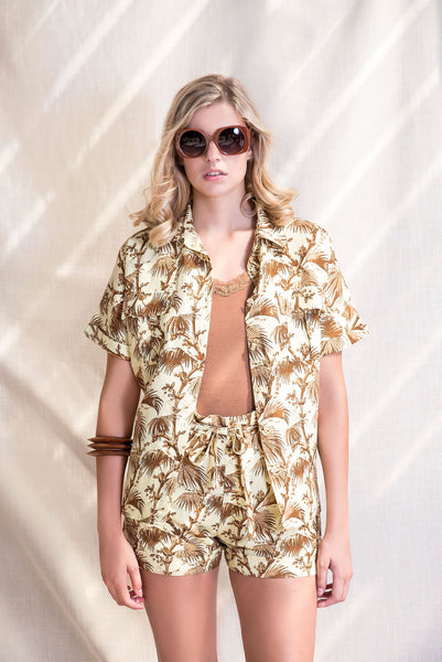Resort Shorts - Lemon & Tan Palm Print