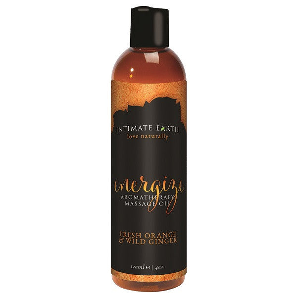 Energize Massage Oil Fresh Orange and Wild Ginger 120mL | Private Playground: Sex Toys & Adult Products