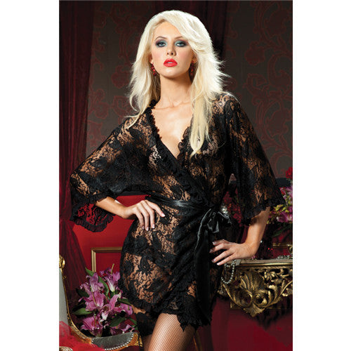 Paisley Pleasure Lace Robe (STM-9405) | Private Playground: Sex Toys & Adult Products - 1