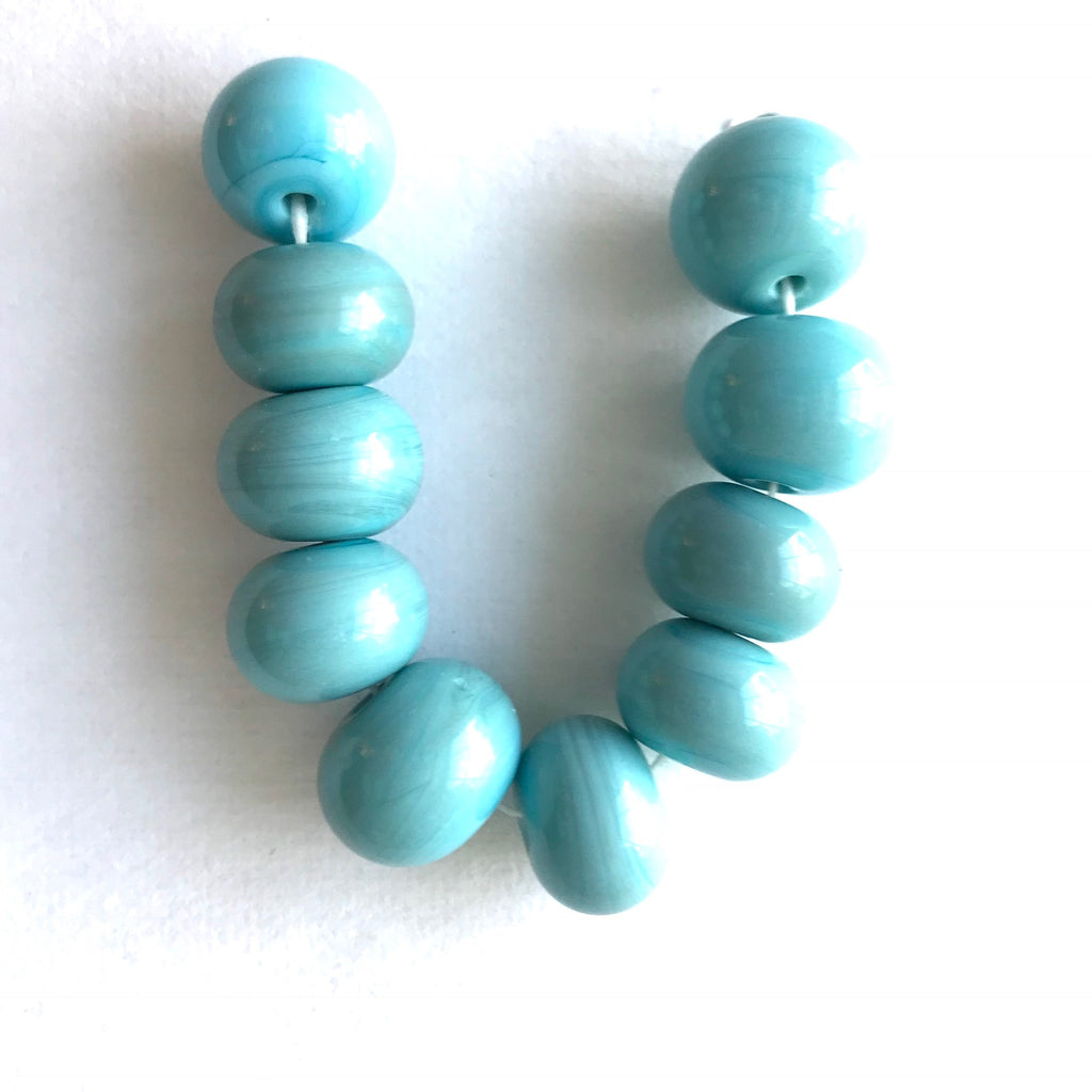 Seaside: Light Turquoise Single Color Beads (Set of 10)