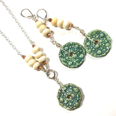 Summer Escape - Green and Ivory Earrings and Necklace