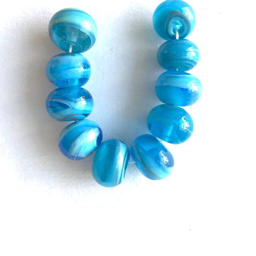 Seaside: Swirled Beads (Set of 10)