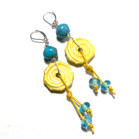 Summer Escape - Turquoise and Yellow Earrings