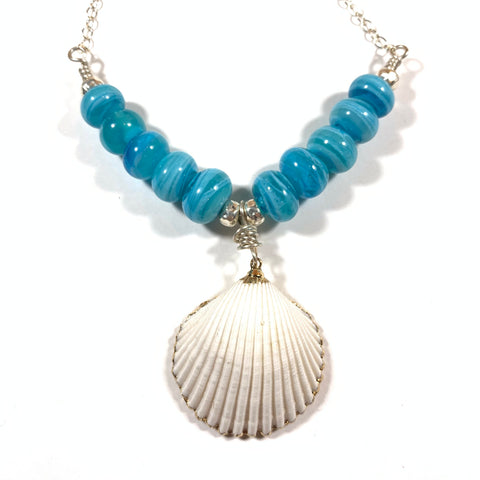 "Seashell Collection - Anne Necklace - 28"" Sterling Silver Chain + 2"" Natural Shell Pendant - Limited Edition"