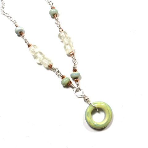 Summer Escape -  Pachamama, Egg White and Copper Necklace