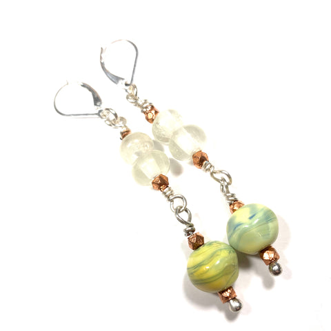 Summer Escape -  Pachamama, Egg White and Copper Earrings