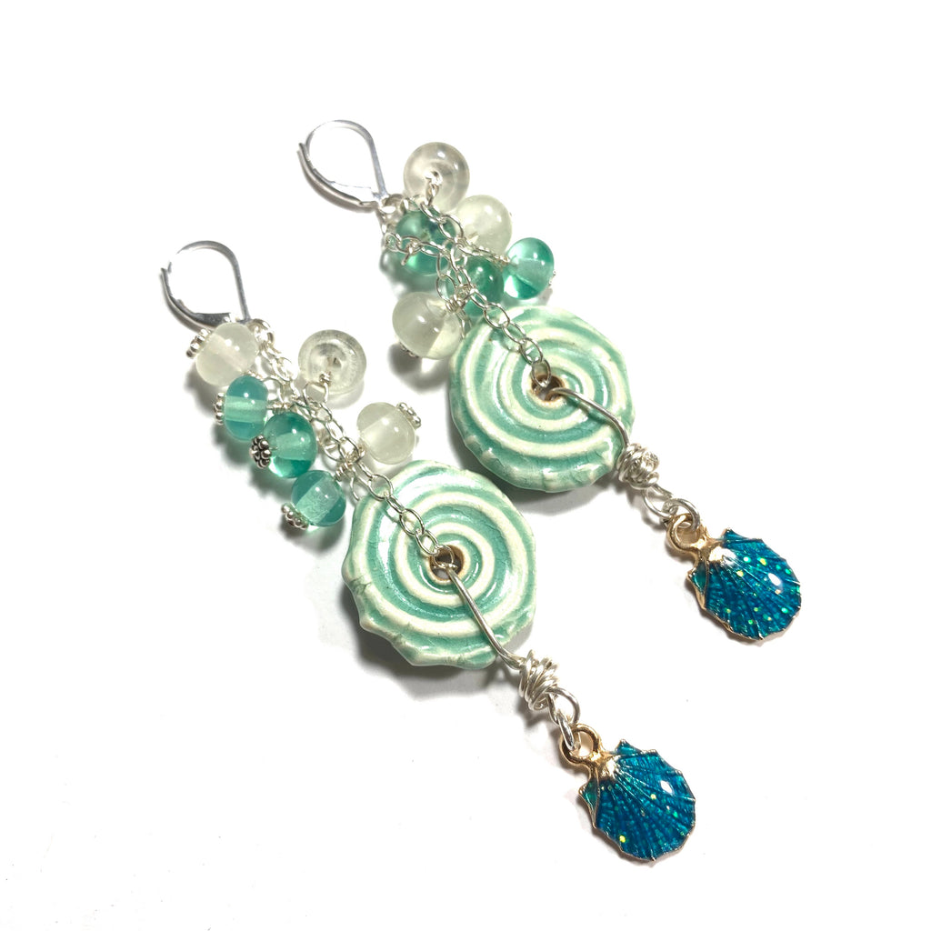 Summer Escape - Green Ceramic, Green and white glass, shell charm earrings