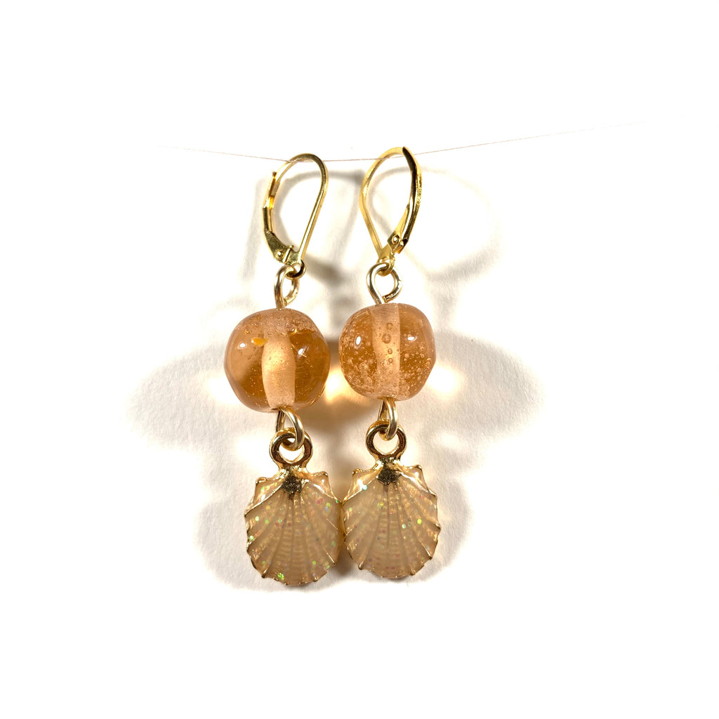 "Seashell Collection - Linda Earrings - Gold Fill Leverback 1.25"" (Limited Edition)"