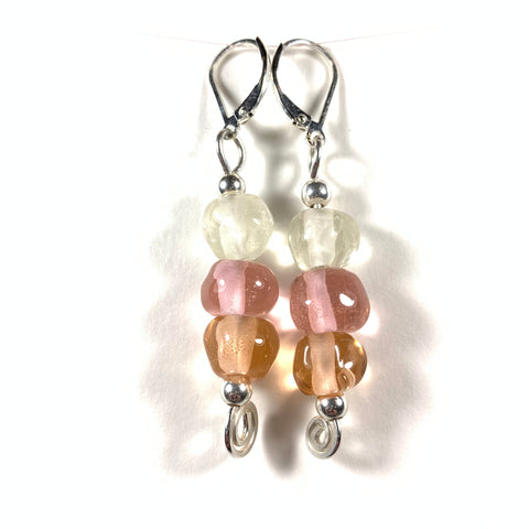 Seashell Collection - Maria Earrings - Sterling silver and glass
