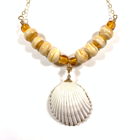 "Seashell Collection - Emma Necklace - 24"" Gold Fill Chain + 2"" Natural Shell Pendant - Limited Edition"