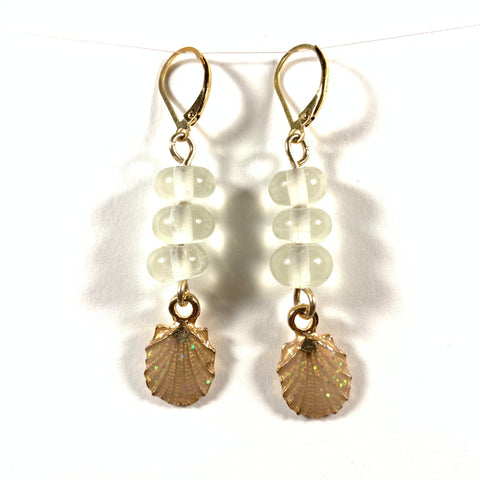 "Seashell Collection - Laura Earrings - Gold Fill Leverback 1.75"" (Limited Edition)"