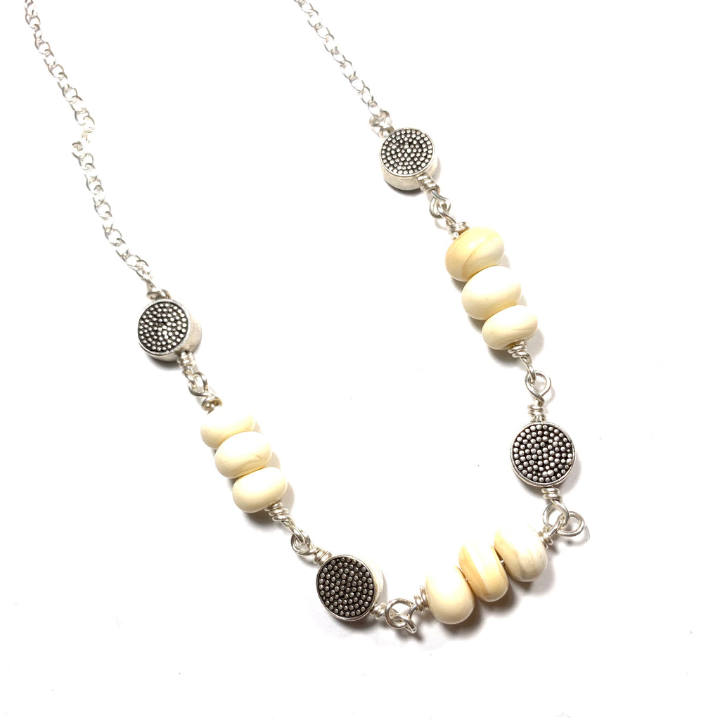 Summer Escape - Ivory and Silver Necklace 30-32""