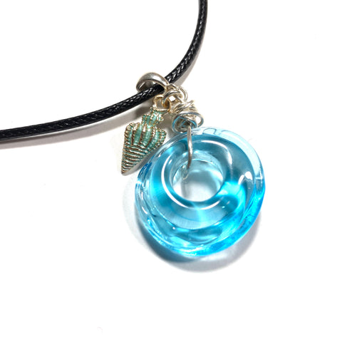 Summer Escape -  Molten Glass Blue Necklace with shell charm