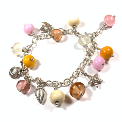 Seashell Collection - Olivia Bracelet - Glass and sterling silver charm bracelet sized to fit