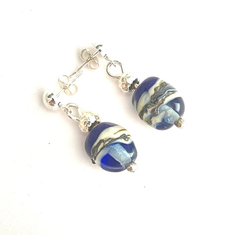 "Strati Collection: Bethany - Navy & Pale Blue Olive shape post earrings 1"" drop"
