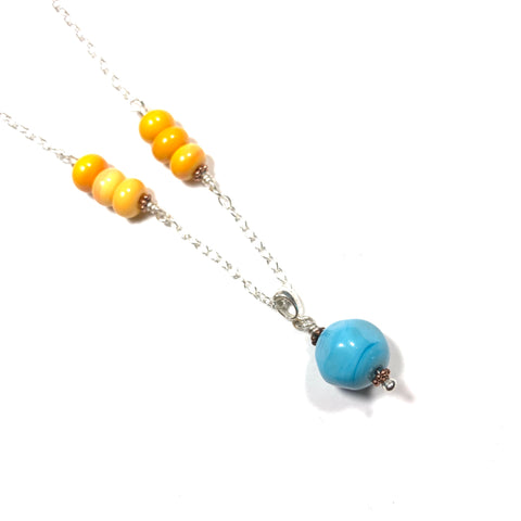Summer Escape - Orange and Turquoise Glass Necklace