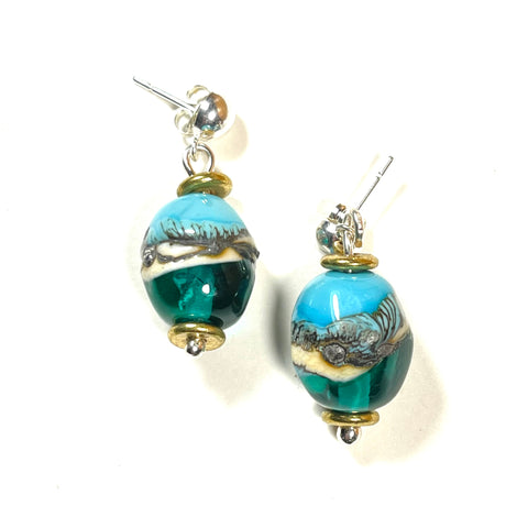 "Strati Collection: Hilary - Turquoise & Teal Olive shape post earrings 1"" drop"