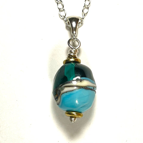 "Strati Collection: Hilary - Turquoise & Teal Olive shape 1"" pendant"