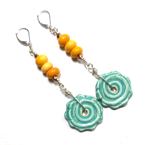 Summer Escape - Orange and Turquoise Earrings