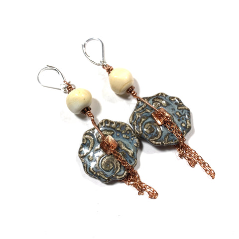 Summer Escape -  Denim and Ivory Earrings